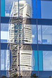 Turning Torso Reflection. The turning Torso skyscraper reflected in the windows of a nearby office block Royalty Free Stock Photo