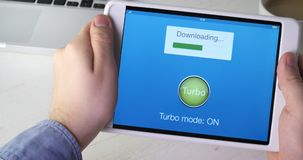Turning on turbo mode on digital tablet application for fast internet speed