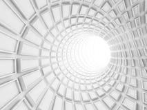 Turning white tunnel interior, 3d illustration Stock Image
