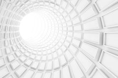 Turning white tunnel interior, 3 d illustration. Turning white tunnel interior with technological extruded tiling. 3d illustration Royalty Free Stock Image