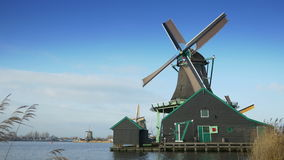 Turning windmill at the Zaanse Schans. Holland 4K stock footage