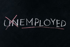 Turning the word Unemployed into Employed Stock Photos