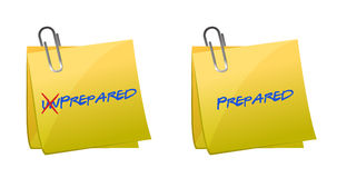 Turning the word Unprepared into Prepared Stock Photos