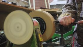 Turning workshop wood stock footage