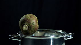 Turnip falling in pot. In slow motion stock footage