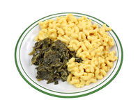 Turnip Greens Macaroni Cheese On Plate Royalty Free Stock Photography