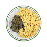 Turnip Greens Macaroni Cheese Plate Top View Stock Photos