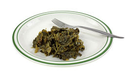 Turnip Greens Plate Fork Angle Royalty Free Stock Photos