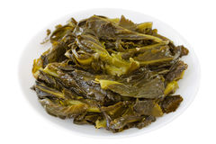 Turnip greens on plate Stock Image