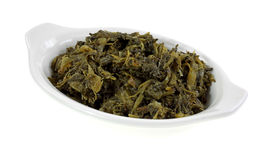 Turnip Greens Serving Dish Angle Stock Photo