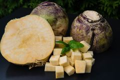 Turnip rutabaga brassica napus. Cut into cubes for a perfect fresh and healthy stew stock photography
