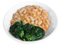 Turnip top and beans. Royalty Free Stock Photo