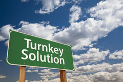 Turnkey Solution Green Road Sign Over Sky. Turnkey Solution Green Road Sign with Dramatic Sky and Clouds Royalty Free Stock Image