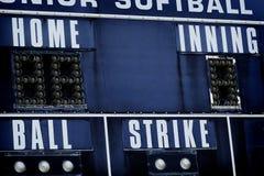 Turno del hogar de la huelga de la bola del marcador del béisbol imagen de archivo libre de regalías