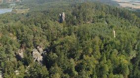 TURNOV, CZECH REPUBLIC - JUNE, 2019: Aerial drone view of a beautiful landscape of National Park Cesky Raj near Prague. TURNOV, CZECH REPUBLIC - JUNE, 2019 stock video
