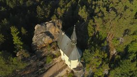 TURNOV, CZECH REPUBLIC - JUNE, 2019: Aerial drone view of Gothic castle in National Park Cesky Raj near Prague. European landmarks from above stock video footage