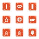 Turnover icons set, grunge style. Turnover icons set. Grunge set of 9 turnover vector icons for web isolated on white background Stock Image