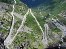 Turns of the mountain road. Trollstigen  - famous mountain road in Norway Stock Image