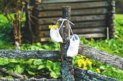 Turnschuhe auf dem Hintergrund von wild lebenden Tieren Weiße weibliche Schuhe im Freien auf einem authentischen Bretterzaun, geb lizenzfreie stockbilder