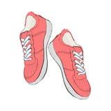 Turnschuhe Schuhe des Handabgehobenen betrages Auch im corel abgehobenen Betrag Stockfoto