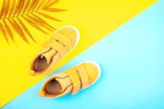 Turnschuhe und ein Zweig von Palmen auf einem modischen Hintergrund der gelb-blauen Farbe lizenzfreie stockfotos