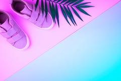 Turnschuhe und Zweig von Palmen auf einem modischen Neonfarbhintergrund, Draufsicht, Sommerschuhe lizenzfreie stockfotografie