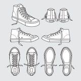 Turnschuhschuhsegeltuchsportabnutzungsfußabnutzungstrainingslaufschuh-Illustrationskarikatur Schwarzweiss Stockbilder