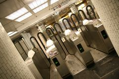 Turnstile. In the Paris subway royalty free stock images