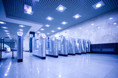Turnstile and doors in subway royalty free stock image