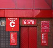 Turnstile entrance to Liverppol Football Club Kop end Stock Image