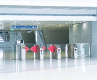 Turnstile at the entrance to subway. Empty turnstile at the entrance to subway Royalty Free Stock Photo