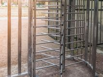 The turnstile full-height rotor electromechanical is installed at the entrance to the Gatchina Park to control and limit the trave Royalty Free Stock Photography