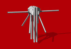 Turnstile, isolated on red background. Turnstile at the entrance and exit isolated on a red background Stock Image