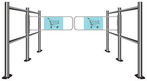 Turnstile for shopping carts Stock Image