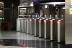 The turnstile. Of a subway station in Moscow royalty free stock image