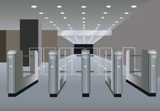 Turnstile vector. Turnstile on a empty hall vector Stock Photo