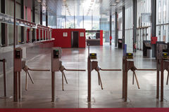 Turnstiles in a building hosting Macef home show in Milan Stock Photos