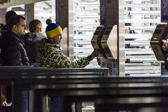 Turnstiles entrance to football stadium Olympic NSC Stock Photos