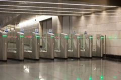 Turnstiles on an entrance to the subway Stock Image