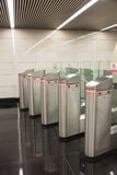 Turnstiles on an entrance to the subway Royalty Free Stock Photo