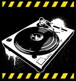 Turntable 01. Music turntable with paint drips Stock Images