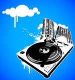 Turntable 05 no background. Music turntable with paint drips and city Royalty Free Stock Image