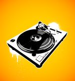 Turntable 06 no background. Music turntable with paint drips Royalty Free Stock Images