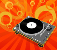 Turntable. With a groovy design background in orange color range Stock Image