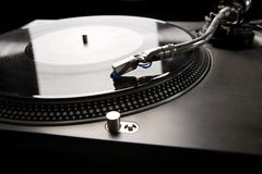 Turntable. Vinyl disk player in backlight Stock Photography