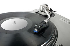 Turntable. Dj's vinyl player isolated on white background Royalty Free Stock Photography