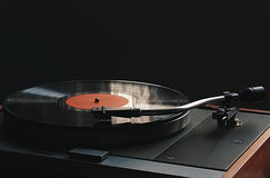 Turntable. Close-up vintage vinyl disk player Royalty Free Stock Photography