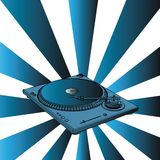 Turntable. With blue retro background (with vector EPS format Stock Photos