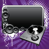 Turntable. And glossy banner on a grunge background Royalty Free Stock Images