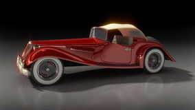 Turntable animation of red car. Turntable animation of shiny old Hot Rod 3D model of vintage red car, on reflective surface with clipping work path included, in stock video footage